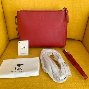 Red Leather Lo & Sons The Pearl Cross Body/Clutch